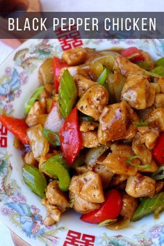 Moist chicken cubes seasoned with a tasty, tangy sauce, black pepper chicken (黑椒鸡丁) is an easy Chinese stir-fry dish not to miss. #chicken #redhousespice #easyrecipes Recipes With Chicken And Peppers, Sauce For Chicken, Chicken Stuffed Peppers, Chicken Stir Fry, Chicken Recipes, Chicken Pepper Fry, Turkey Recipes, Peppered Chicken Recipe Chinese, Black Pepper Chicken Chinese
