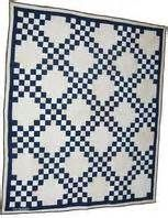 Double Irish Chain quilt from the early 1900's in a blue and white ...