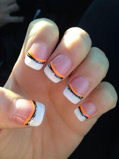Orange Black and Glitter French Tips | DIY Halloween Nail Designs Ideas