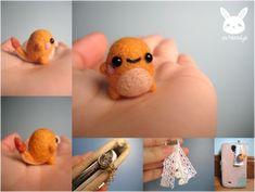Miniature Felted Charmander Phone Charm by xxNostalgic on DeviantArt Cute Crafts, Felt Crafts, Wet Felting, Needle Felting, Felt Turtle, Art Corner, Doll Quilt, Felt Ball, Cute Pokemon