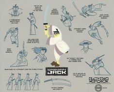 Cartoon Network SAMURAI JACK LE Cel Painting of Title Character + Model Sheet Background Print, 2003