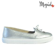 Pantofi dama din piele naturala 491/Argintiu/Agnes
