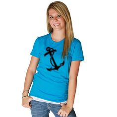 in a scoop or vneck ONLY hate crew neck tees in a White with Navy anchor or a red with navy anchor