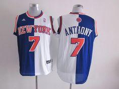 e8c083e213f Adidas NBA New York Knicks 7 Carmelo Anthony Swingman Split Blue White  Jersey New York Knicks