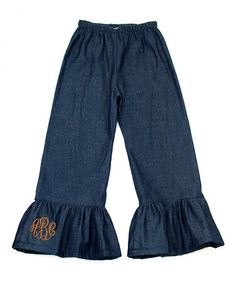 This Denim Monogram Ruffle Pants - Infant, Toddler & Girls by Princess Linens is perfect! #zulilyfinds