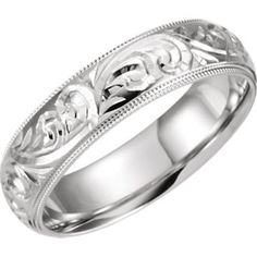 14kt White 6mm Hand Engraved Band