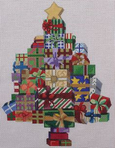 The Collection Designs Christmas Tree 143 Hand Painted Needlepoint Canvas #TheCollectionDesigns