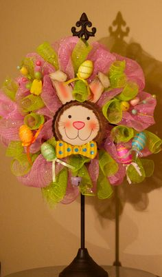 Items similar to Easter Wreath on Etsy Easter Wreaths, Holiday Wreaths, Holiday Crafts, Spring Wreaths, Easter Crafts, Easter Decor, Easter Celebration, Easter Holidays, Wreath Crafts