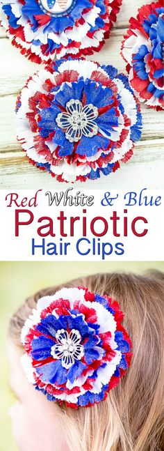 Easy Red White and Blue Patriotic Hair Clips for girls! This easy tutorial can help you create multiple Americana boutique hair accessories at affordable prices in less than 10 minutes!