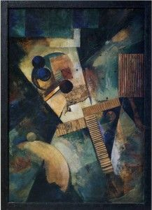 Kurt Schwitters, Ringbild. This painting was banned by the Nazi regime and exhibited at the Degenerate art exhibition in Munich in 1937.