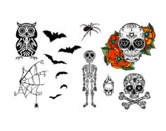 Halloween Skulls, Skeleton, Owl, Spider and Bats Temporary Tattoo Set - Realistic Body Art - Party Favor - Cut Apart and Make Custom Tattoo Design - 26 Total Tattoos * You can find more details by visiting the image link. (This is an affiliate link) Tattoo Kits, Tattoo Ideas, Fun Tattoo, Tattoo Flash, Art Party Favors, Halloween Skull, Halloween Tattoo, Custom Tattoo, Skull And Bones