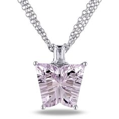 This dazzling necklace from the Miadora Collection features a fancy-cut pink amethyst and baguette-cut white topaz set in radiant high polished sterling silver. This incredible cable chain jewelry is secured with a lobster clasp.