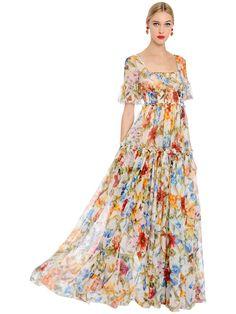 DOLCE  amp  GABBANA BAMBOO FLORAL PRINTED SILK CHIFFON DRESS.  dolcegabbana   cloth   2754441ea59