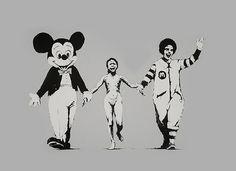 Banksy is an England-based graffiti artist. His satirical street art and subversive epigrams combine irreverent dark humor with graffiti done in a distinctive Banksy Graffiti, Street Art Banksy, Graffiti Artwork, Bansky, Pop Art, Mickey Mouse, Guerrilla Marketing, Photomontage, Art Plastique