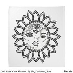 Shop Cool Black White Abstract Sun Moon Face Mask Bandana created by The_Enchanted_Aunt. Black And White Abstract, Black White, Moon Face, Moon Design, Text Style, Niece And Nephew, Colour List, Sun Moon, Personalized T Shirts