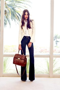 Jean Peak Lapel Blazer.  Sidney Bishop Sleeve Blouse.  Rachel Jean.  Jane Lady Bag.