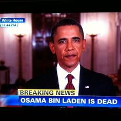 President Barack Obama Announces Osama Bin Laden's Death  By White House   The following is the transcript of President Barack Obama's address to the nation on the evening of Sunday, May 1, 2011.    THE PRESIDENT:  Good evening.  Tonight, I can report to the American people and to the world that the United States has conducted an operation that killed Osama bin Laden, the leader of al Qaeda, and a terrorist who's responsible for the murder of thousands of innocent men, women, and children.   ...