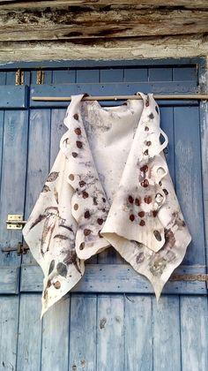 Eco Printed Felted Woolen Waistcoat/vest Eco Fashion Art To Wear Swing Vest by SalkimiCreations on Etsy https://www.etsy.com/dk-en/listing/532189337/eco-printed-felted-woolen-waistcoatvest