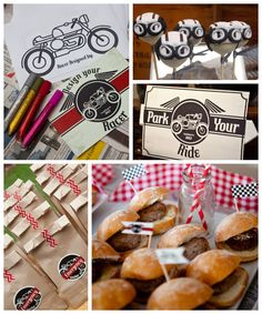 Vintage Motorcycle themed birthday party with So Many Cute Ideas via Kara's Party Ideas | Cake, decor, cupcakes, desserts, favors, games, an...