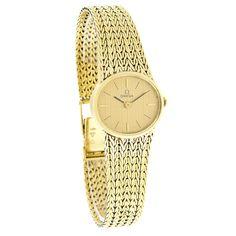 Omega-Ladies-Classic-14K-Gold-Mesh-Bracelet-Dress-Swiss-Quartz-Watch-Pre-Owned