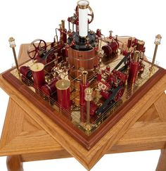 , MAXWELL HEMMENS FOUR STEAM ENGINE EXHIBITION MODEL . 27 x 28 x 28inches (68.6 x 71.1 x 71.1 cm). Superbly built and present...