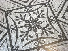 black and white mosaic floor at the Metropolitan Museum of Art in New York City