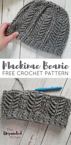 Mackinac Beanie Free Crochet Pattern The Unraveled Mitten Cable stitches Men's Hat Textured Chevron Crochet Crafts, Easy Crochet, Crochet Projects, Knit Crochet, Crochet Hat For Men, Mens Crochet Beanie, Unique Crochet, Crochet Stitches, Crochet Cable Stitch