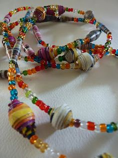 Large Paper Beads mixed with Pony Beads - Necklace