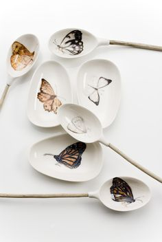 Helen Earl, Butterfly spoons and dishes, porcelain. Image credit: Greg Piper