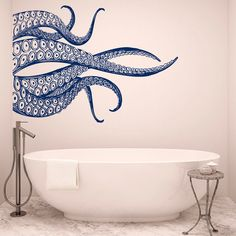 Octopus Tentacles Wall Decals For Bathroom - Sea Animals Kraken Octopus Decal Nautical Bedroom Art- Bathroom Wall Decals Ocean Decor 062