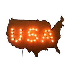 USA Map Marquee Sign   dotandbo.com