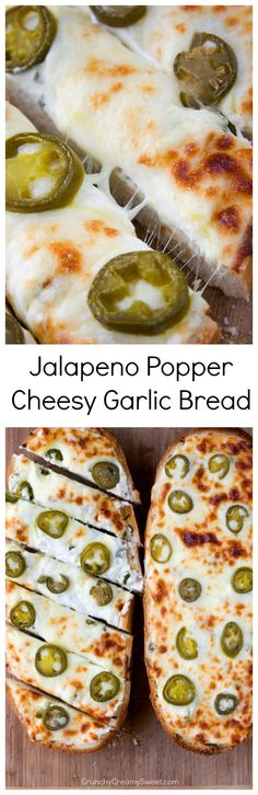 Jalapeno Popper Cheesy Garlic Bread - spicy take on our favorite cheesy garlic bread! It's the perfect game day food!This is so yummy! Think Food, I Love Food, Food For Thought, Good Food, Yummy Food, Yummy Yummy, Delish, Tapas, Gastronomia