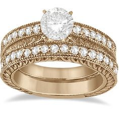 Allurez Vintage Filigree Diamond Engagement Bridal Set 18k Rose Gold (0.35ct)