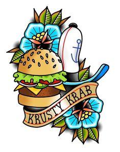 Full Arm Tattoos, Time Tattoos, Body Art Tattoos, Sleeve Tattoos, Old School Tattoo Designs, Tattoo Designs Men, Doodle Tattoo, Tattoo Drawings, Spongebob Tattoo
