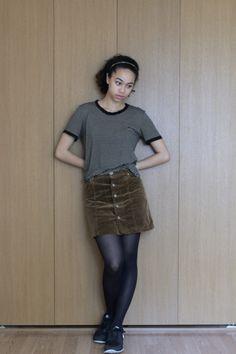www.lazyobsession.com / #casual #chic #nike #corduroy #brown #skirt #stripes