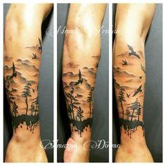 #Tattoo #blackandwhite #blacgrey #AmazonDovme #birds #seagull #forest #tree