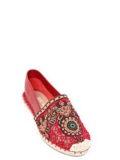 Valentino leather mesh embroidered espadrilles