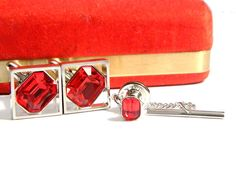 Red Fire Cufflinks And Tie Tac For Men Modern Design Suit And Tie Gentleman's Formal Casual Vintage Accessory Signed Hickok Red And Silver by JewelryQuest