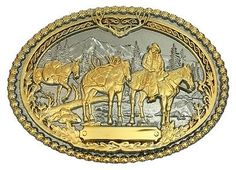 Montana Silversmiths Western Belt Buckle Pack Horses Gold 61333P