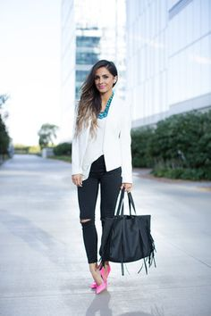 7f3589bec242 Discover this look wearing White Topshop Blazers