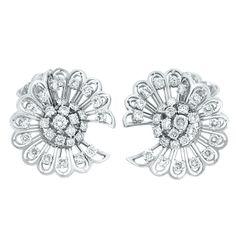 Van Cleef & Arpels 1950's Diamond and Platinum Earclips