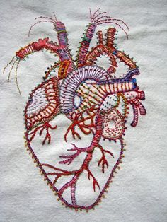 Artist:Carla Madrigal Really awesome hand embroidered heart. I want this on a - Weird Shirts - Ideas of Weird Shirts - Artist:Carla Madrigal Really awesome hand embroidered heart. I want this on a pillow Embroidery Designs, Diy Embroidery, Cross Stitch Embroidery, Machine Embroidery, Embroidery Digitizing, Tumblr Embroidery, Wedding Embroidery, Embroidery Tattoo, Butterfly Embroidery