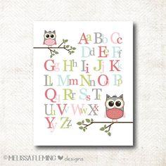 ABC's Nursery Art Print with owls (Girl85)