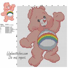 Cheer Bear Care Bears character free cross stitch pattern size 77 x 104 stitches 10 DMC threads colors