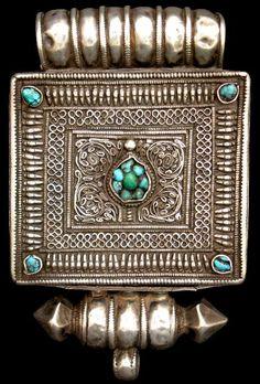 indigenousdialogues: Woman's Silver Ga'u inset with TurquoiseTibet19th century via Michael Backman Ltd. catalogue
