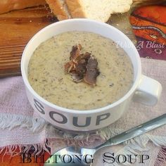"""Biltong Soup is a creamy, rich and hearty soup made using traditional South-African Biltong which is similar (but not same) as """"Beef Jerky"""". Serve as an appetizer or for dinner with fresh bread. Supper Recipes, Soup Recipes, Recipies, Supper Ideas, Yummy Recipes, Healthy Salad Recipes, Healthy Snacks, Kitchen Recipes, Cooking Recipes"""