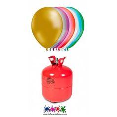 Pack 1 bombona de helio Maxi más 50 globos de colores metalizados.
