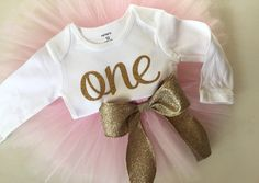 NEW cursive gold one bodysuit with blush pink tutu, gold and pink girls first birthday outfit by PaisleyPrintsSpokane on Etsy