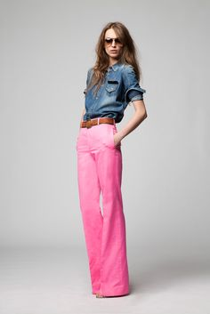 denim and a bold colored pant