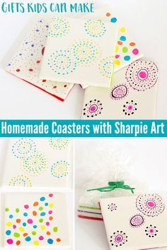 Have fun decorating tile coasters with Sharpie art. Simple enough for kids to do and great gifts for Christmas, Fathers and Mothers Day.